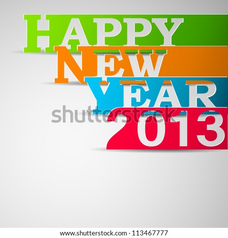 Happy new year paper strips illustration - stock vector