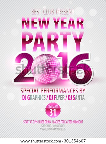 Happy New Year party poster. Vector template EPS 10 - stock vector