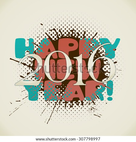 happy new 2016 year poster with splash in retro style. vector illustration - stock vector