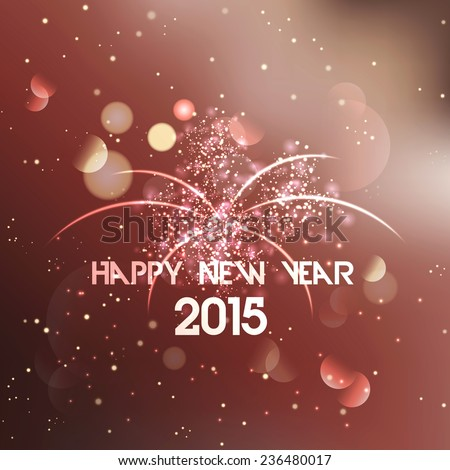 Happy New Year poster with stylish text 2015 on shiny background. Vector - stock vector