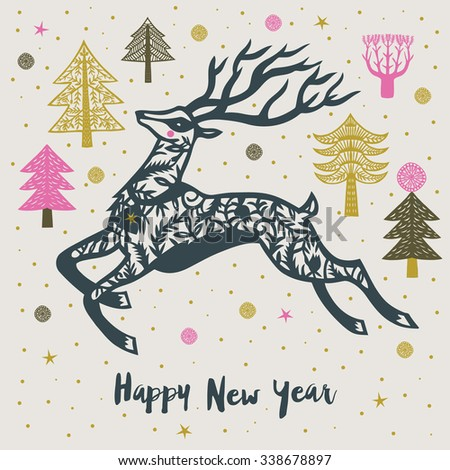 Happy New Year Print Design - stock vector
