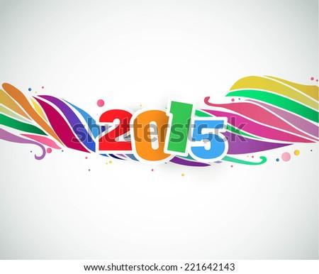Happy New Year 2015  rainbow celebration background. - stock vector