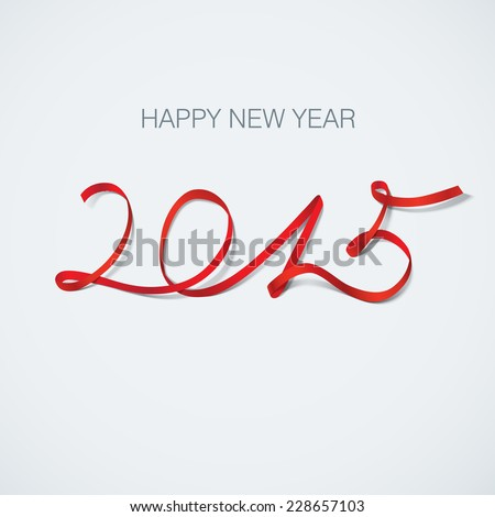 happy new year 2015 ribbon greeting card vector illustration - stock vector