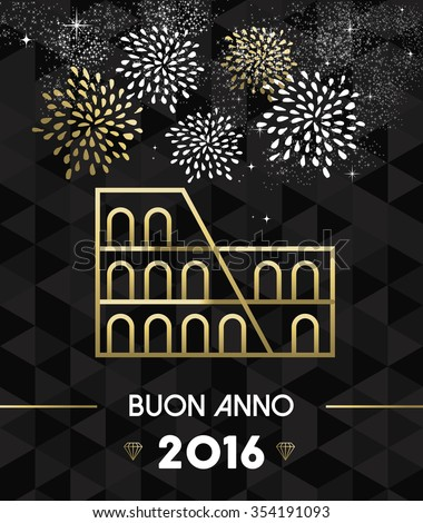 Happy New Year 2016 Rome greeting card with Italy historic landmark Colosseum in gold outline style. EPS10 vector. - stock vector