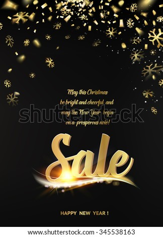 Happy new year sale card with black background and golden sparks. Golden confetti petals fall to the bottom. Big Sale text. Vector illustration.  - stock vector