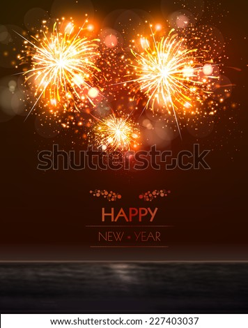 Happy New Year 2015 sky and sea fireworks concept, easy editable - stock vector
