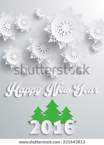 Happy new year 2016 snowflakes banner with tree. Greeting celebration, holiday annual winter, decor poster, decoration congratulation, postcard event illustration. Silver snowflakes - stock vector