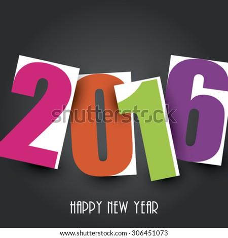 Happy new year 2016 Text Design - stock vector
