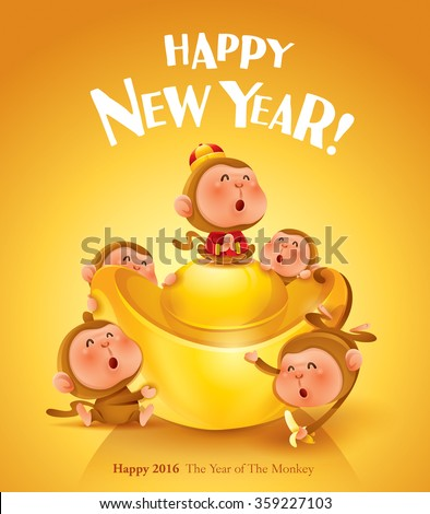 Happy New Year! The year of the monkey. Poster design. - stock vector