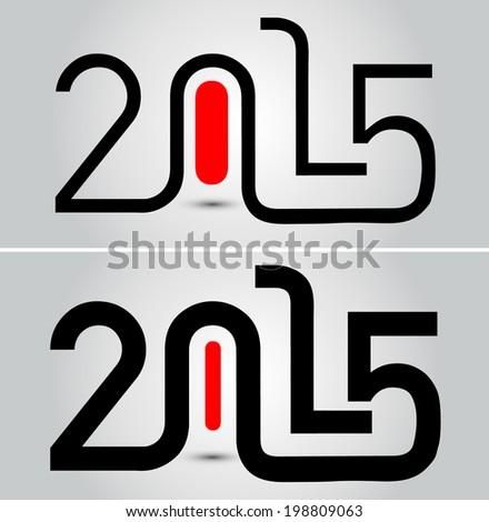 Happy new year 2015, typographic illustration - stock vector
