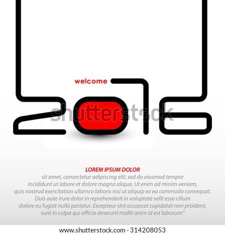 Happy new year 2016, typographic illustration - stock vector
