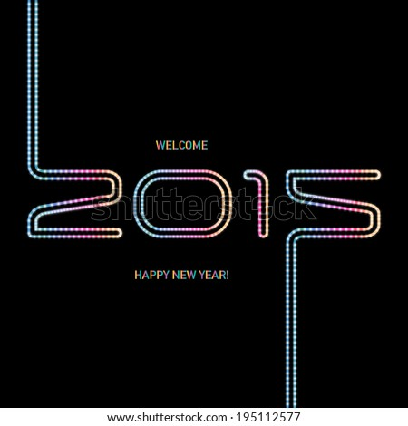 Happy new year 2015, typographic illustration. Calendar cover design. - stock vector