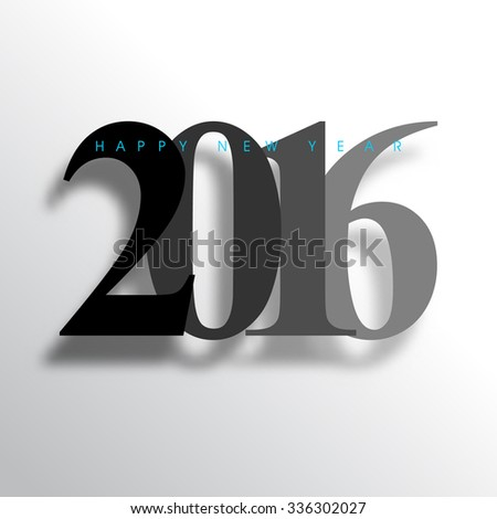 happy new year, 2016 typography background design - stock vector