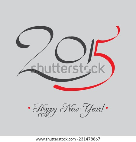 Happy New Year 2015 Typography Card | EPS10 Vector Design - stock vector