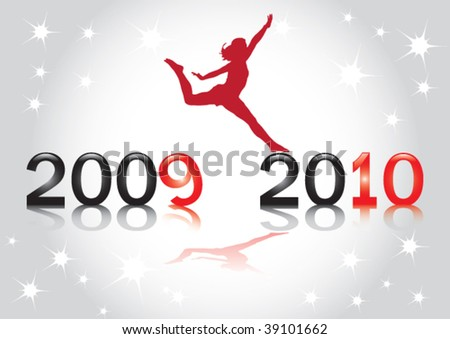Happy 2010 New Year Vector Greeting Card - stock vector