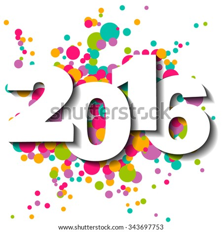 Happy New Year 2016 vector illustration. - stock vector