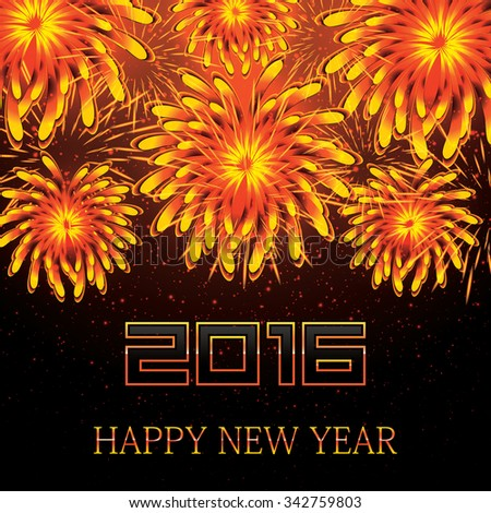 Happy New Year 2016.Vector Illustration of Fireworks - stock vector