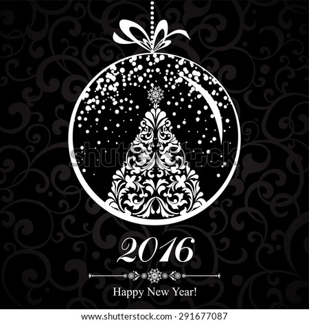 Happy new year 2016! Vintage card. Celebration black background with Christmas tree, Christmas ball and place for your text.  vector illustration  - stock vector