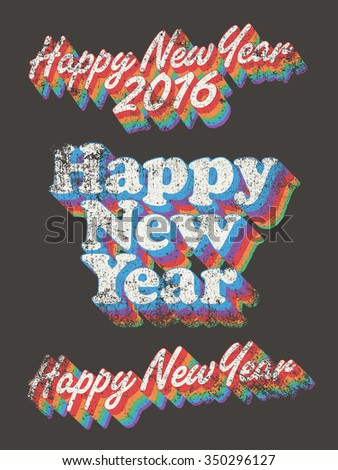 Happy New Year vintage used - stock vector