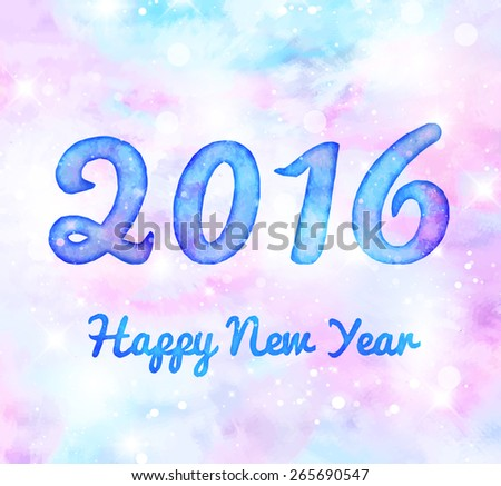 Happy New Year 2016 watercolor greeting card - stock vector