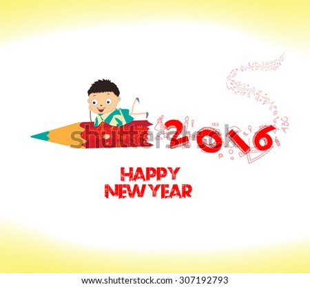 happy new year 2016. Welcome to school - stock vector