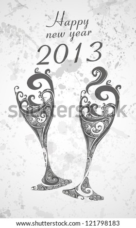 Happy New Year 2013 with abstract champagne glasses eps10 - stock vector