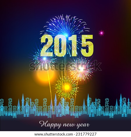 Happy New Year 2015 with fireworks background - stock vector