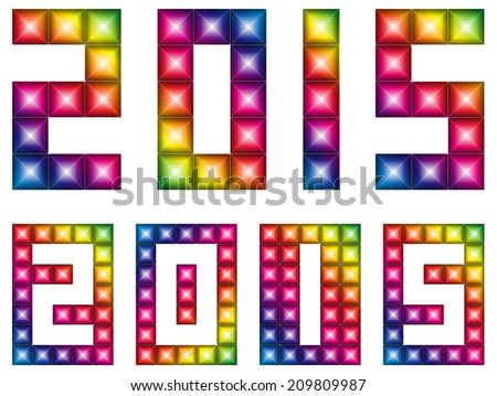 Happy new 2015 year with LED display - stock vector