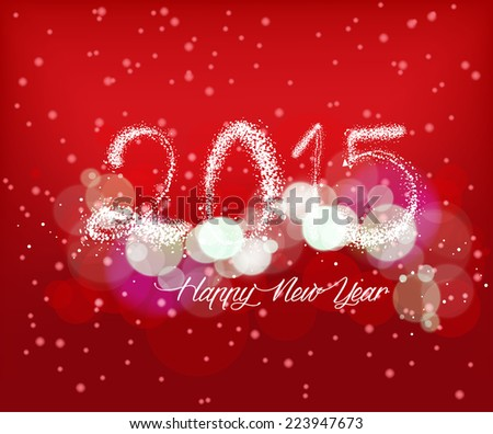 Happy new year with light background - stock vector