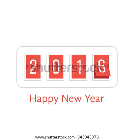 happy new year with 2016 scoreboard. concept of flipboard numerical, celebrate, 2016 year, 2016 calendar template. isolated on white background. flat style trend modern logo design vector illustration - stock vector