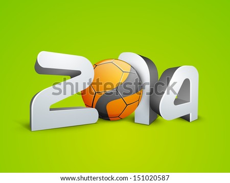 Happy New Year 2014 with soccer ball on green background.  - stock vector