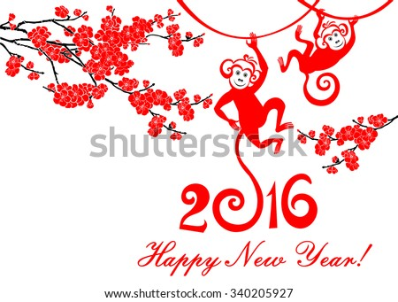 Happy new year 2016. Year Of The Monkey. Celebration background with Red Plum flowers, monkey and place for your text. Vector Illustration - stock vector