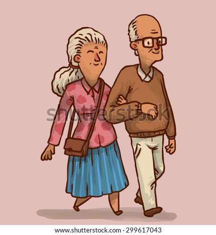 Happy old couple, vector - stock vector