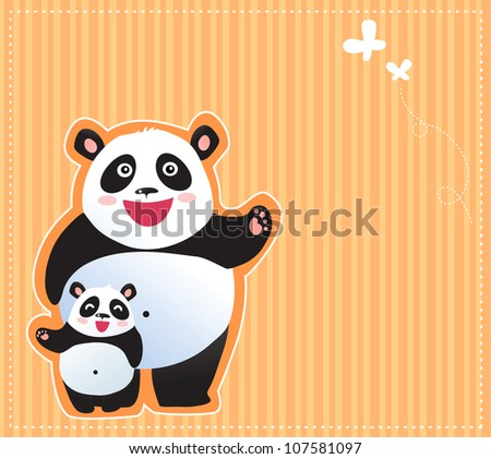 Happy pandas background - stock vector
