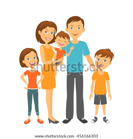 Happy parents and kids. Mother and father with children. Mom and dad with kids - stock vector