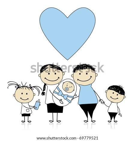 Happy parents with children, newborn baby in hands - stock vector