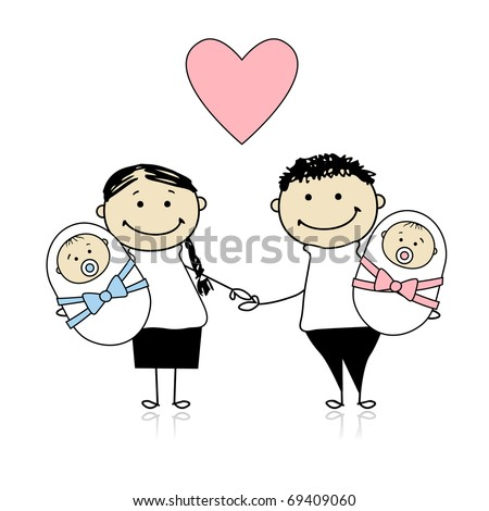 Happy parents with newborn twins - stock vector