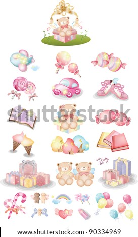 Happy Party for Cute little Baby - joyful pink collection, sweet foods, colorful ornaments and surprised presents on anniversary for lovely kids isolated on white background : vector illustration set - stock vector