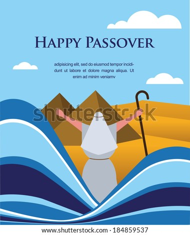 Happy Passover - Out of the Jews from Egypt  - stock vector