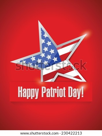 happy patriot day illustration design over a red background - stock vector