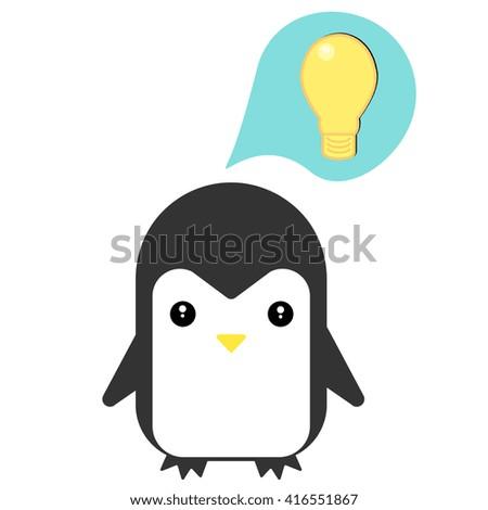 Happy penguin getting idea. Vector flat illustration. - stock vector