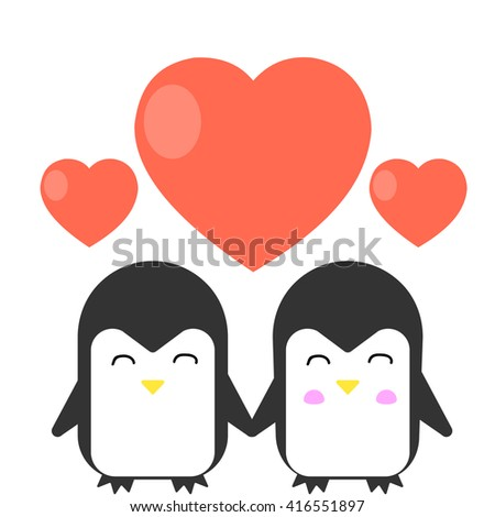 Happy penguin love each other. Concept for Valentines day, wedding or other. Vector flat illustration. - stock vector