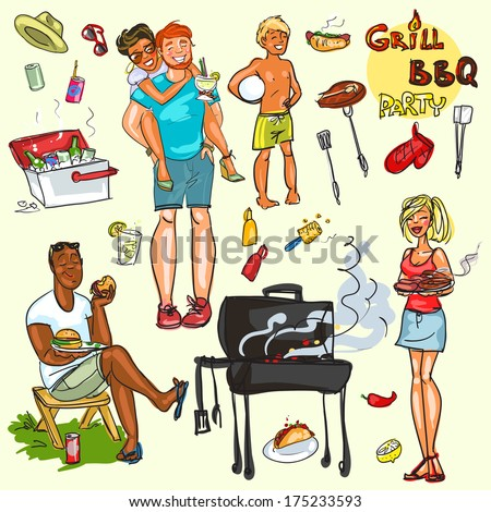 Happy people having BBQ party, vector collection, isolated. - stock vector