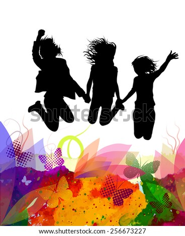 Happy people jumping. to enjoy the summer. Vector - stock vector