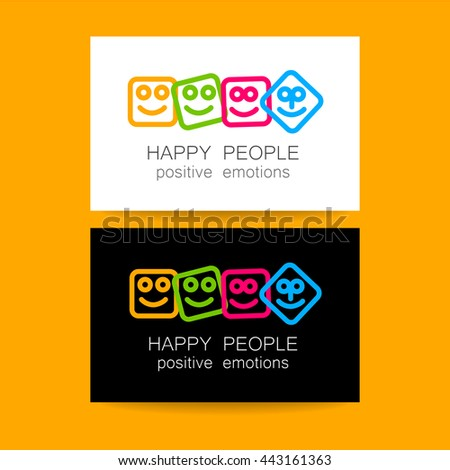 Happy people logo template. Concept business card design for company. Positive emotions, happy games, entertainment sphere, unity emblem, happy people team, society fund and etc. Vector.   - stock vector
