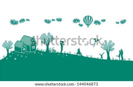 Happy People Silhouette - stock vector
