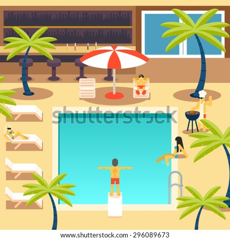 Happy People Sunny Pool Hotel Summer Vacation Tourism Journey Symbol Ocean Sea Travel Bacground Flat Design Concept Template Vector Illustration - stock vector