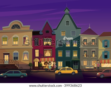 Happy people walking around City street at Night. Street lights in the night. Doors and windows boutiques, shops. Cars and taxi on a road. Vector - stock vector