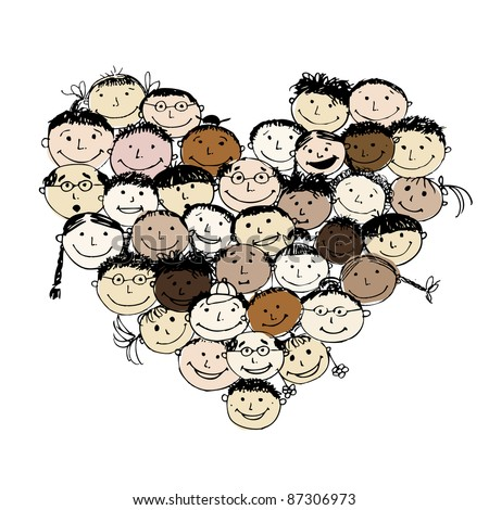 Happy peoples, heart shape for your design - stock vector