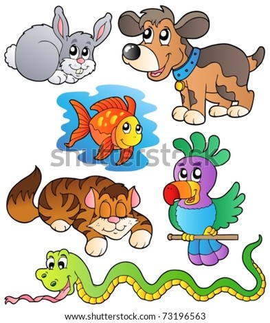 Happy pets collection 1 - vector illustration. - stock vector